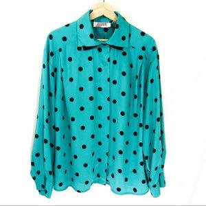 80's Vintage New Wave Dot Blouse